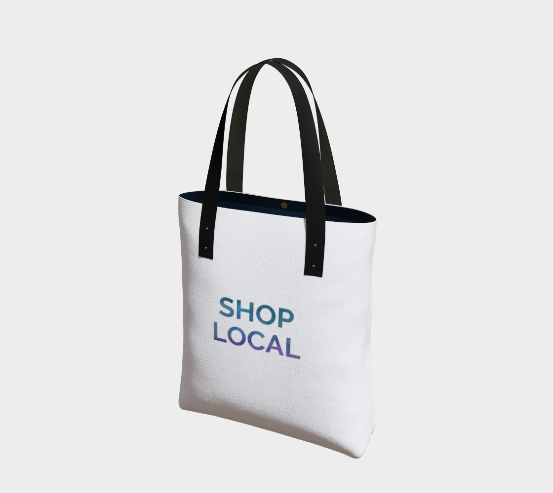 Shop Local - white background multicolour text preview