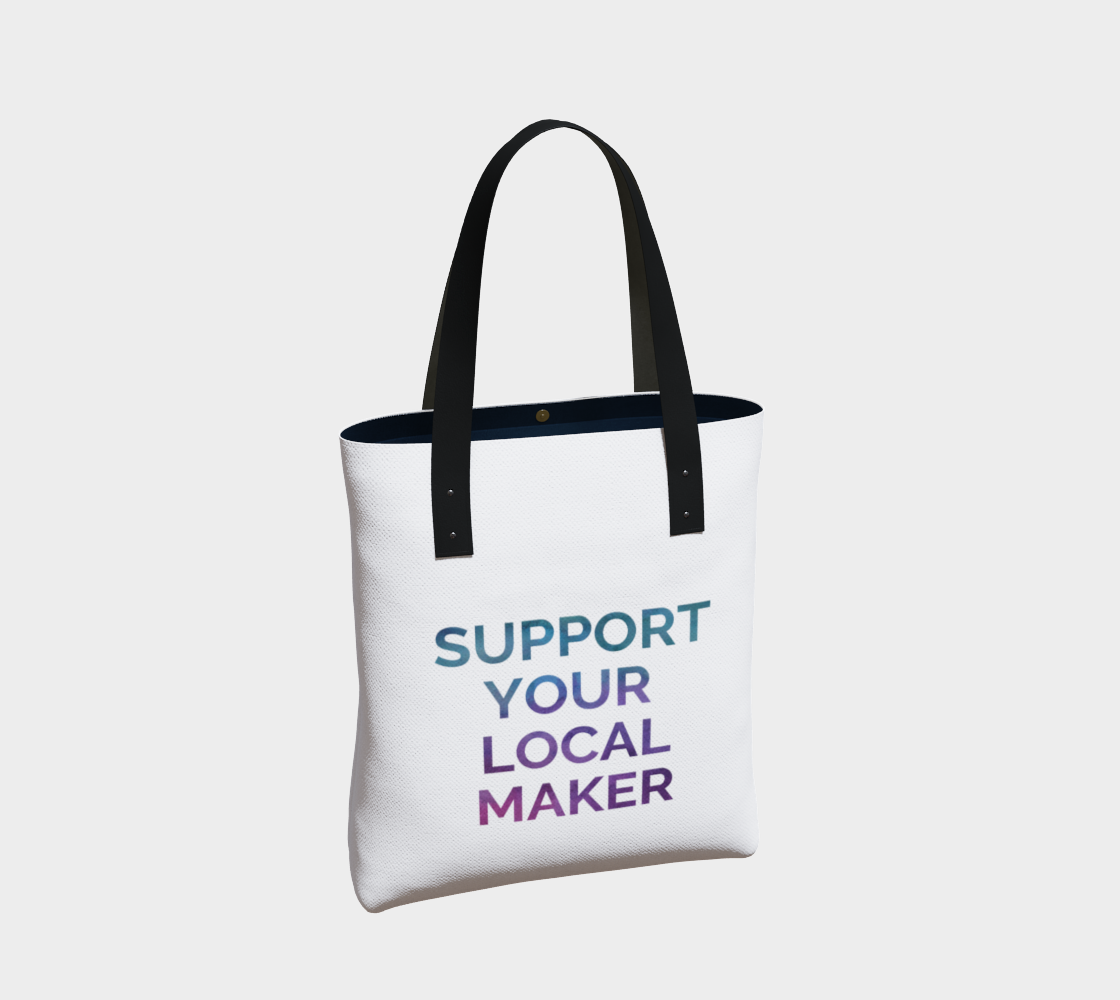 Support Your Local Maker - white background multicolour text preview #2