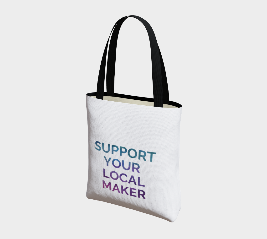 Support Your Local Maker - white background multicolour text preview #3