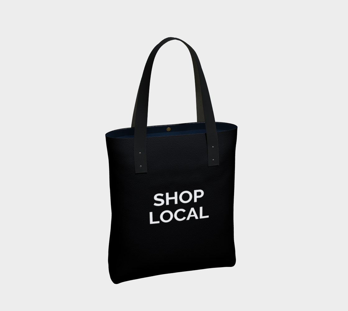 Shop Local - black background with white text preview #2