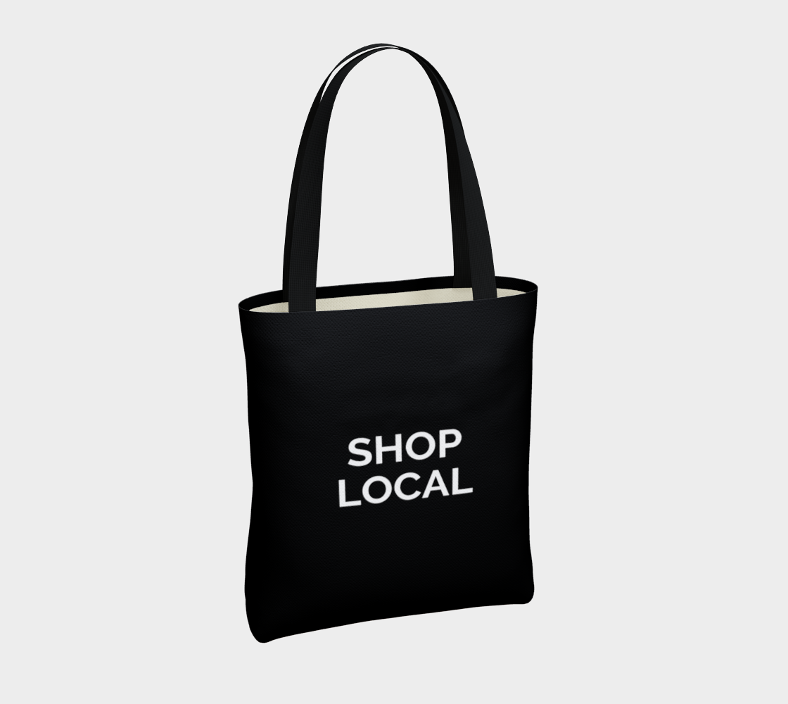 Shop Local - black background with white text preview #4