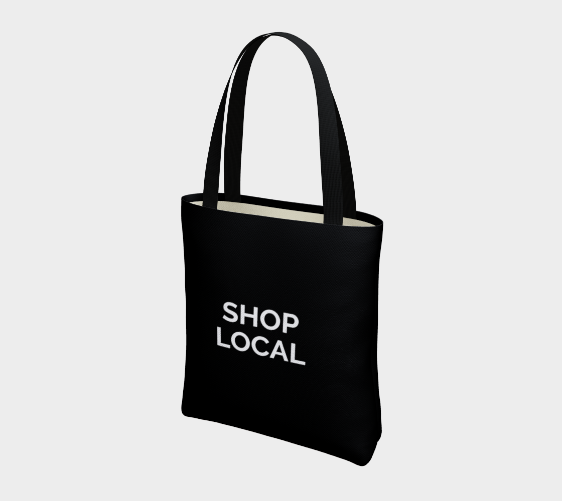 Shop Local - black background with white text preview #3
