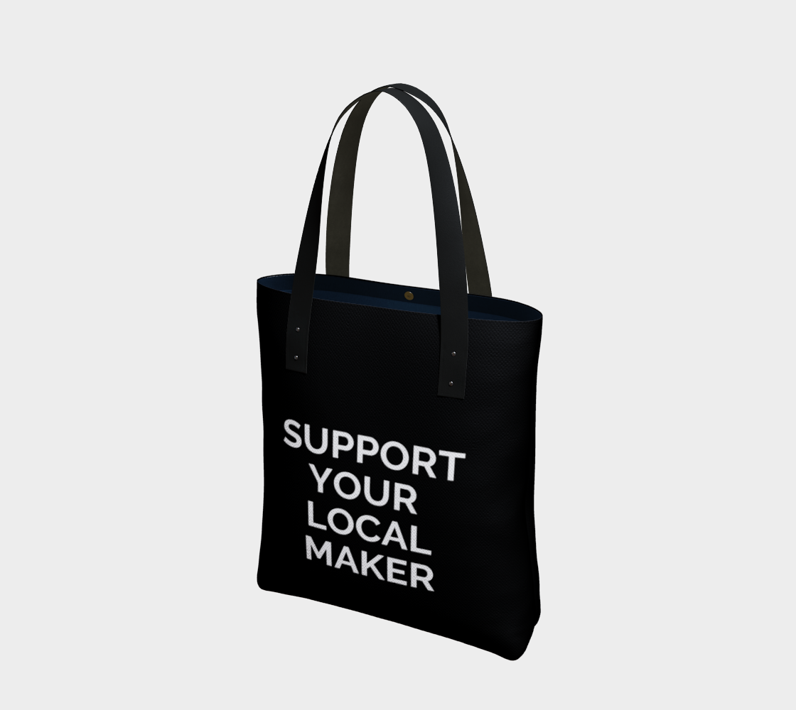 Support Your Local Maker - black background with white text preview