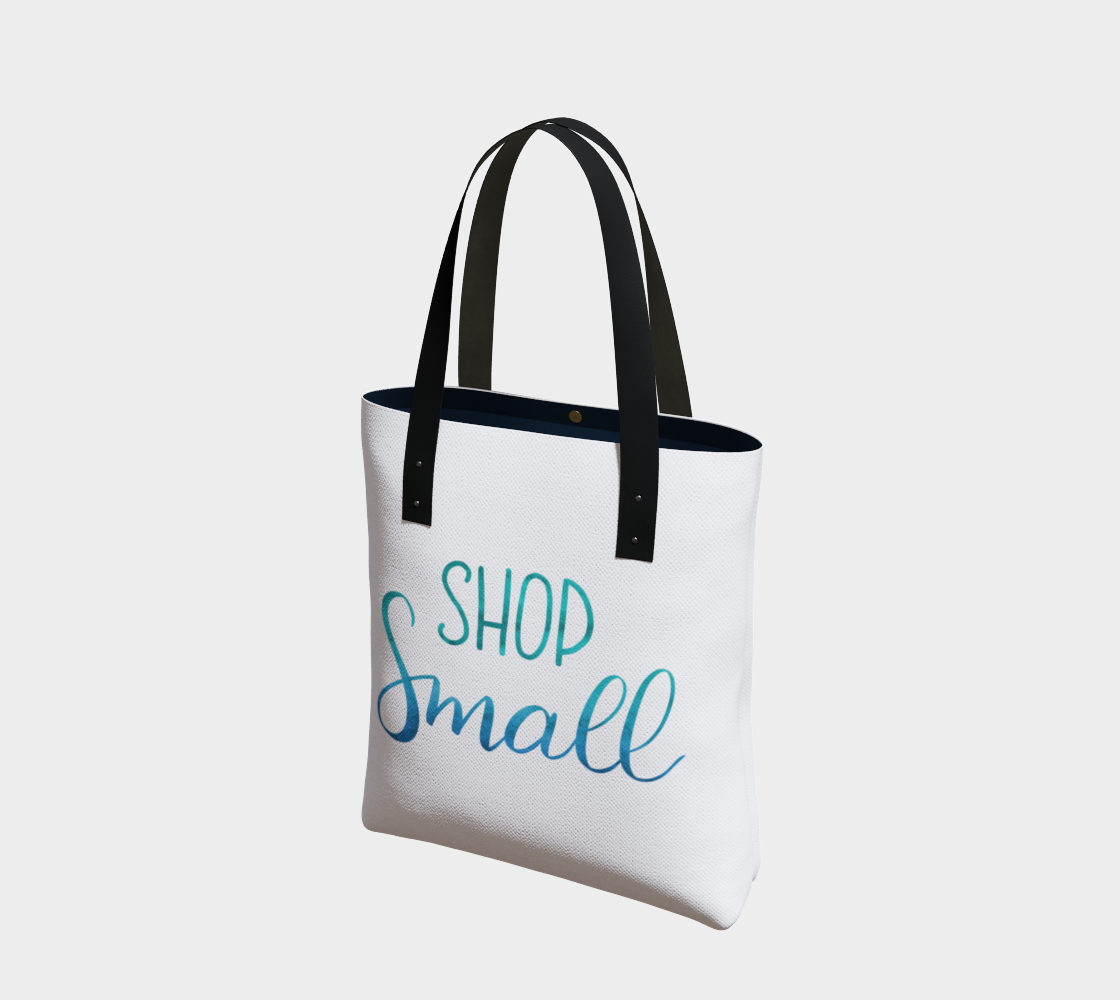 Shop Small - white background with blue-green lettering preview
