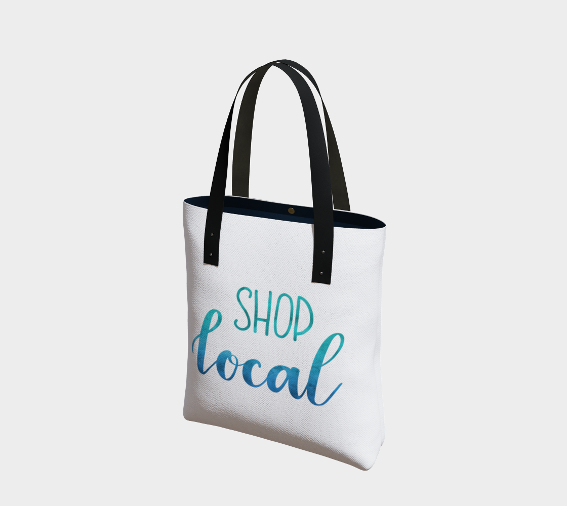 Shop Local - white background with blue-green lettering preview