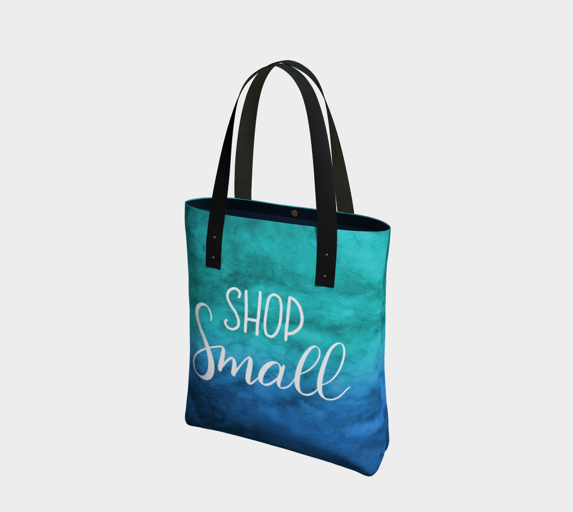 Shop Small - blue-green watercolour background with white lettering preview
