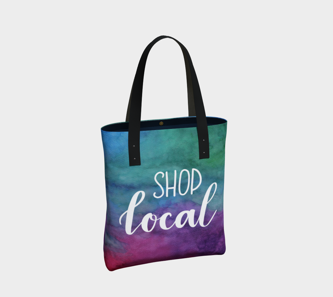 Shop Local - multicolour watercolour background with white lettering preview #2
