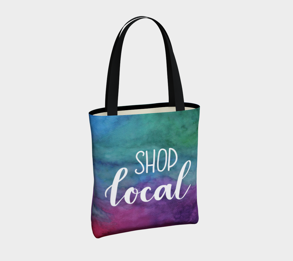 Shop Local - multicolour watercolour background with white lettering preview #4