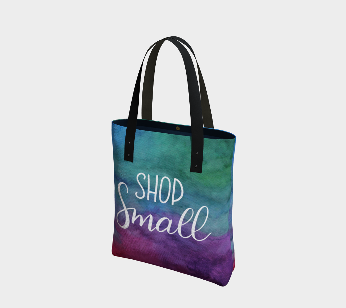 Shop Small - multicolour watercolour background with white lettering preview