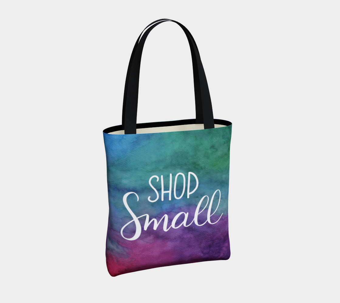 Shop Small - multicolour watercolour background with white lettering preview #4