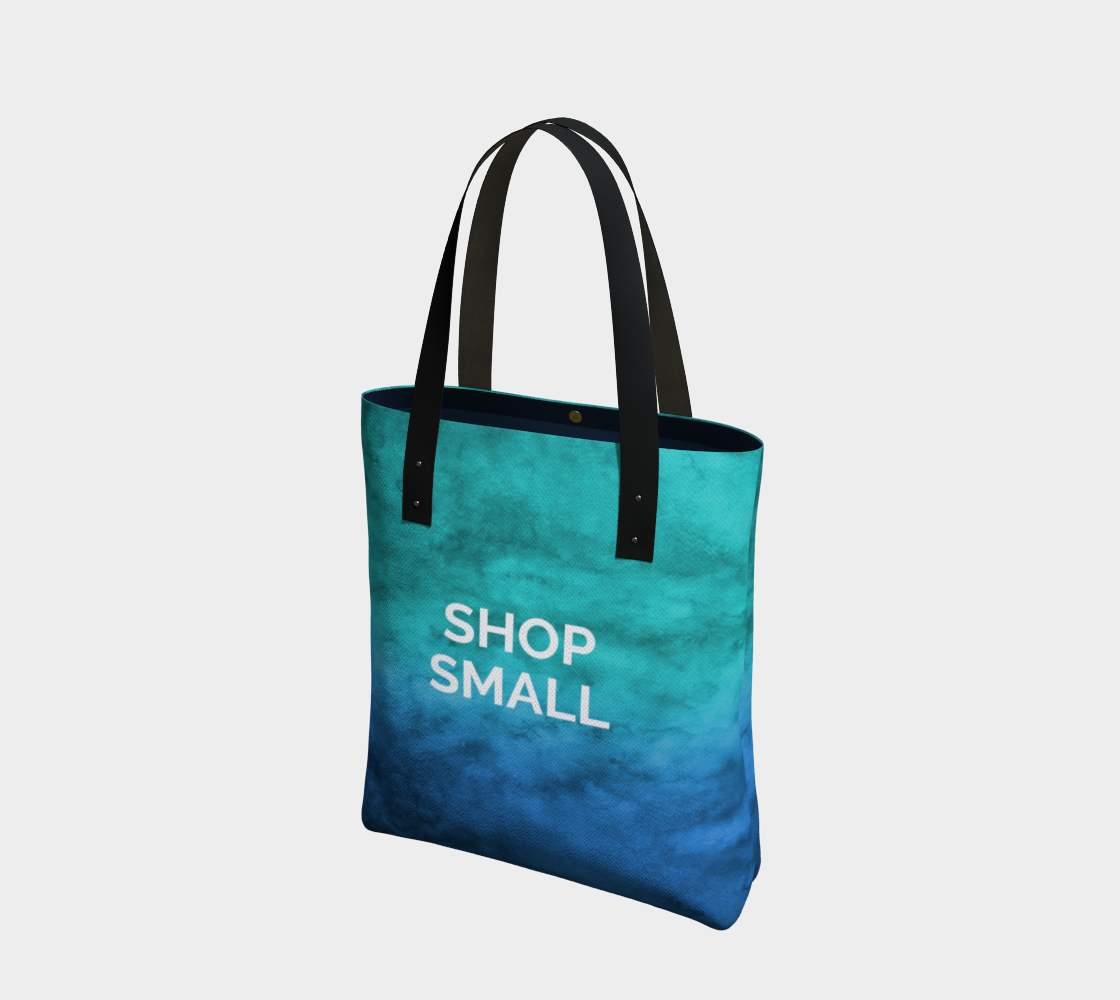 Shop Small - blue/green watercolour background with white text preview