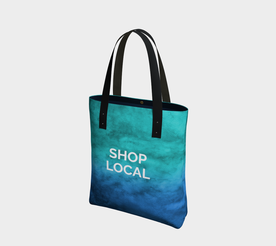 Shop Local - blue/green watercolour background with white text preview