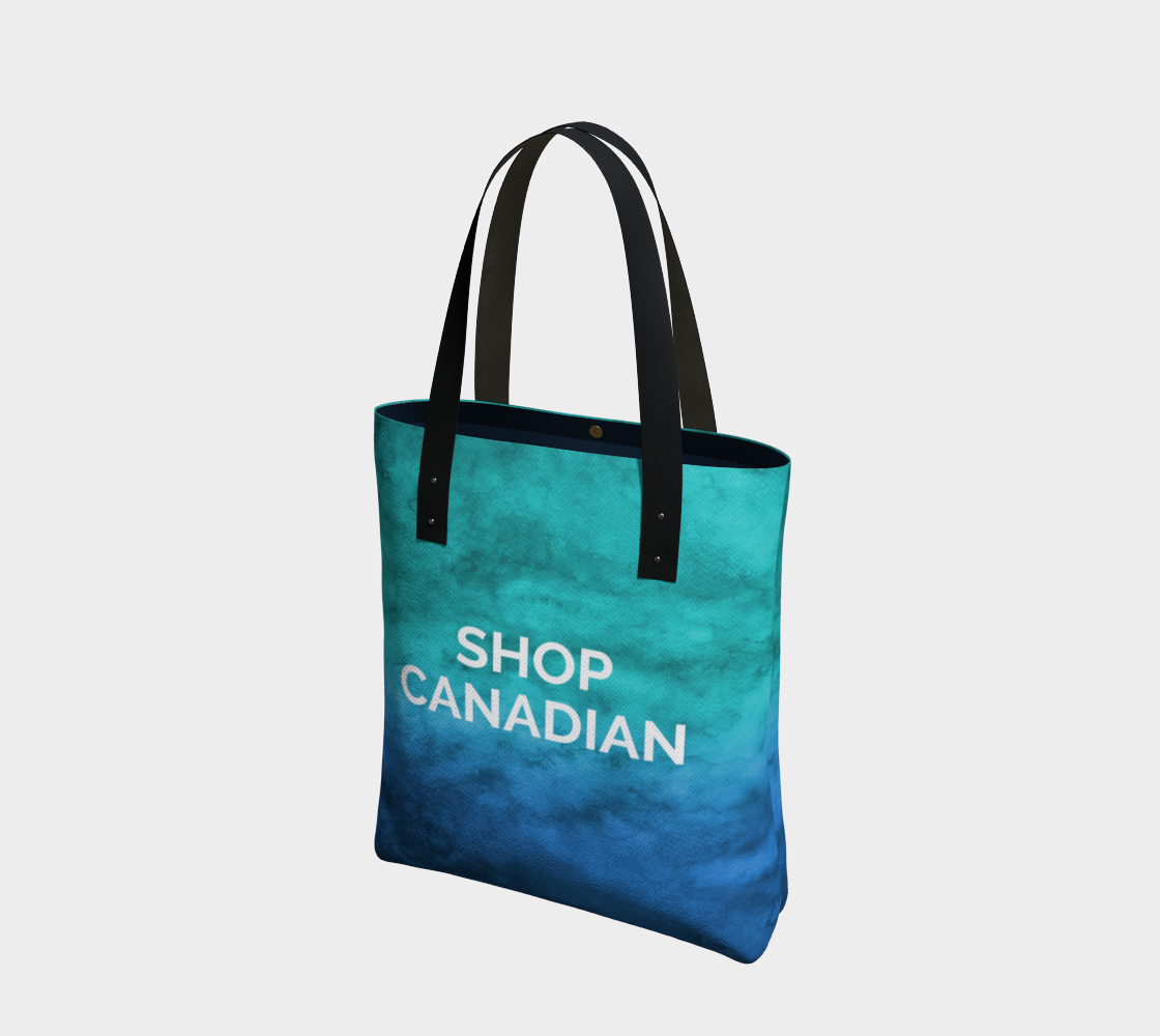 Shop Canadian - blue/green watercolour background with white text preview