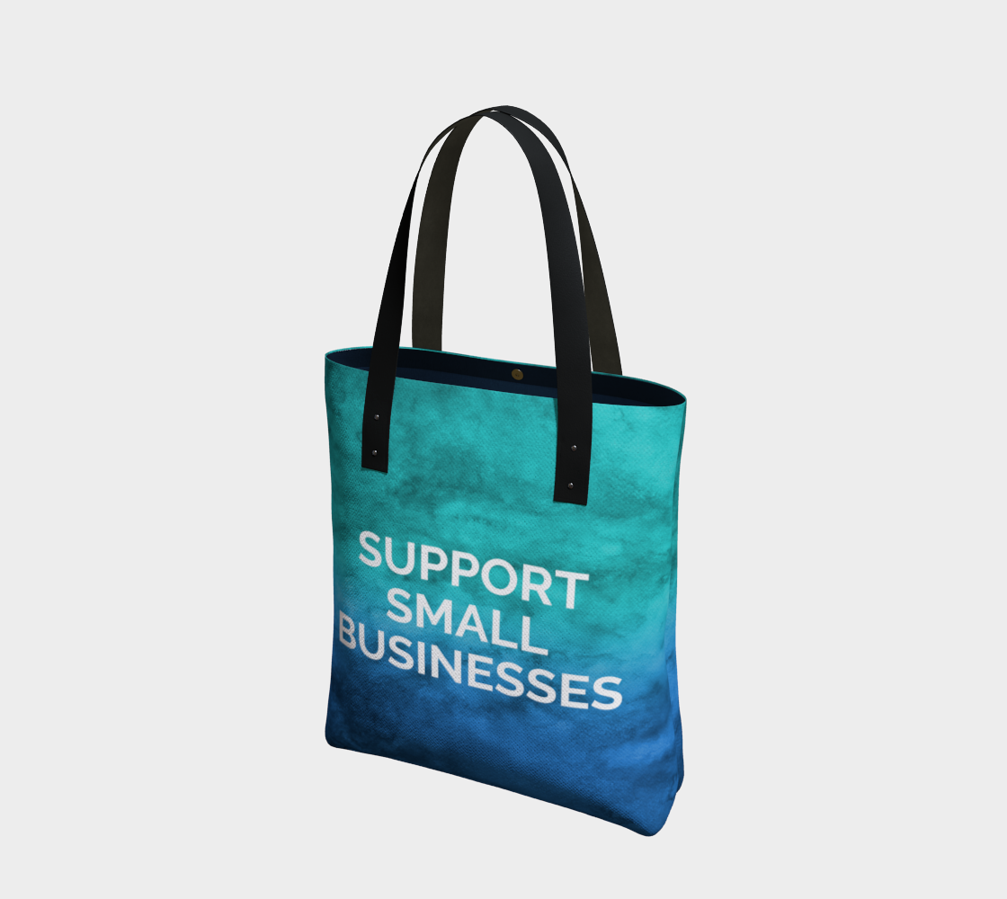 Support Small Businesses - blue/green watercolour background with white text preview