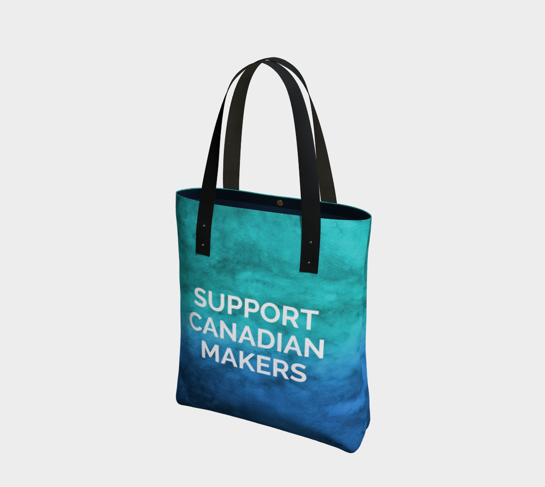 Support Canadian Makers - blue/green watercolour background with white text preview