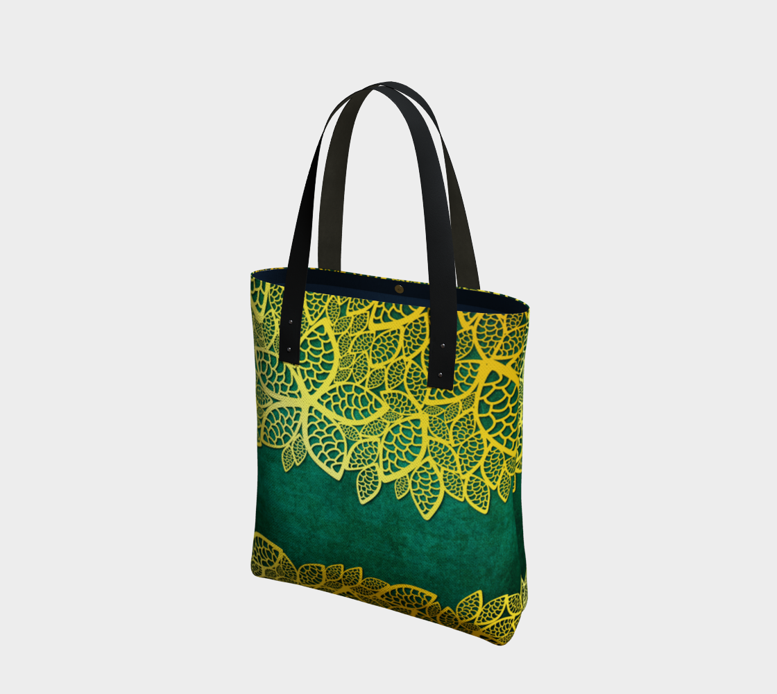 golden leaves on emerald green preview
