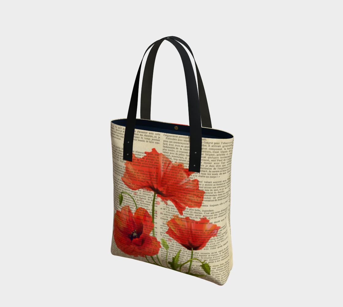 botanical print red poppies preview