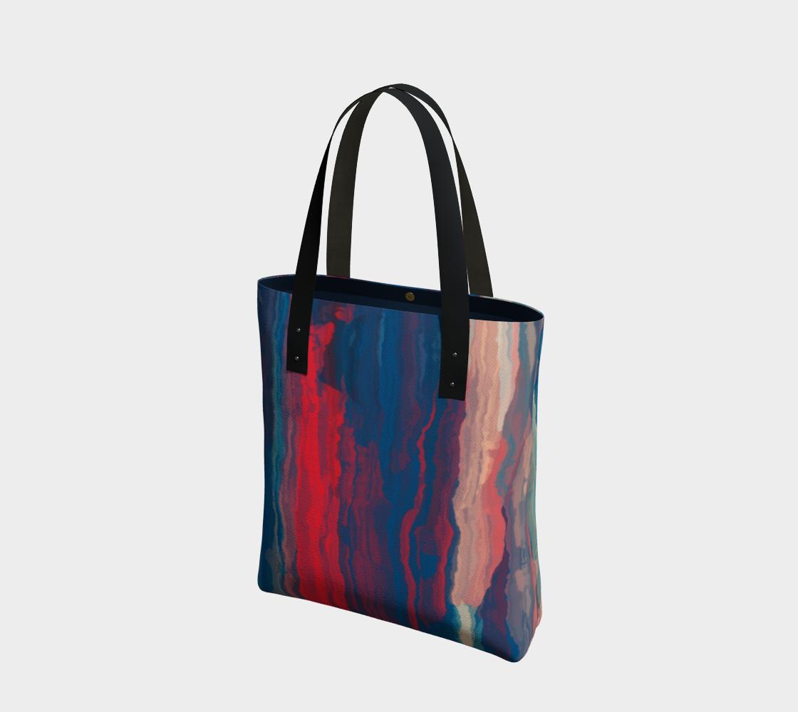 Aperçu de Red Blue Painted Stripes Tote Bag