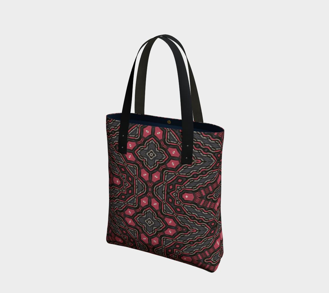 Aperçu de Boho Red Grey Pattern Tote Bag
