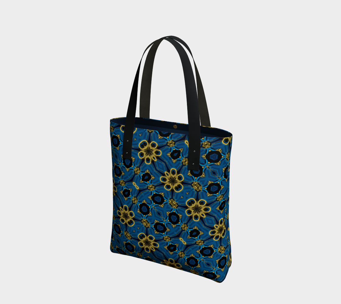 Aperçu de Blue and Yellow Floral Print Tote Bag