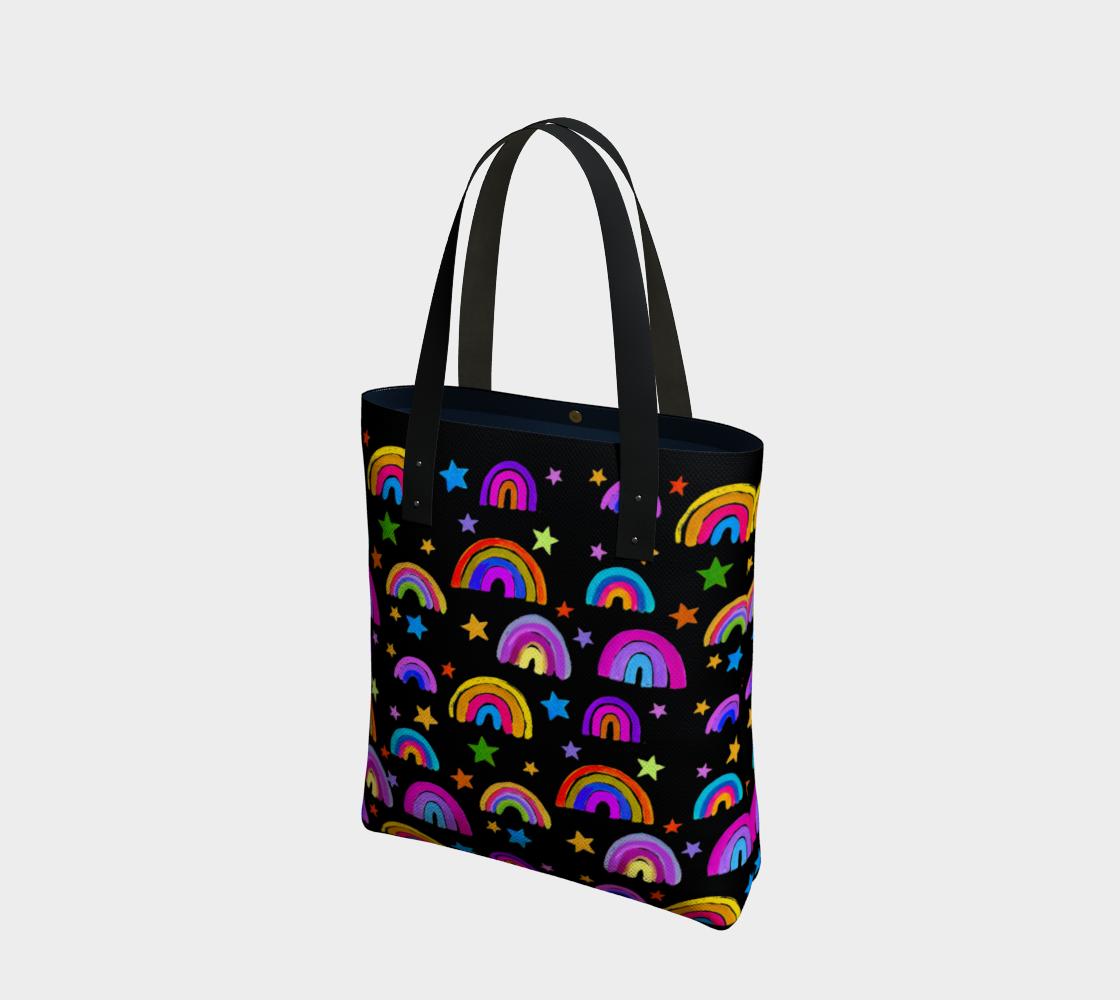 Aperçu de Rainbows and Stars on Black Tote Bag