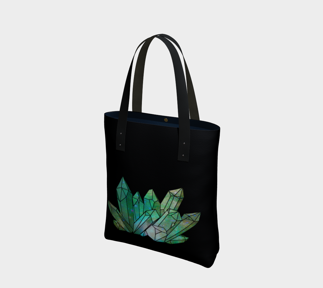 Cosmic Crystals Emerald Cotton Tote Bag AOW Best preview