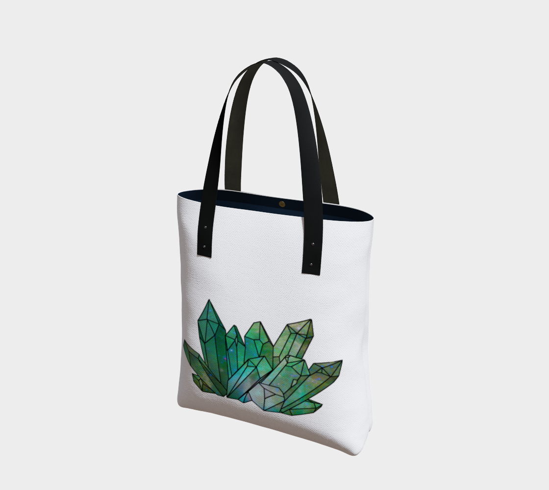 Cosmic Crystals Emerald on Natural Cotton Tote Bag AOW preview