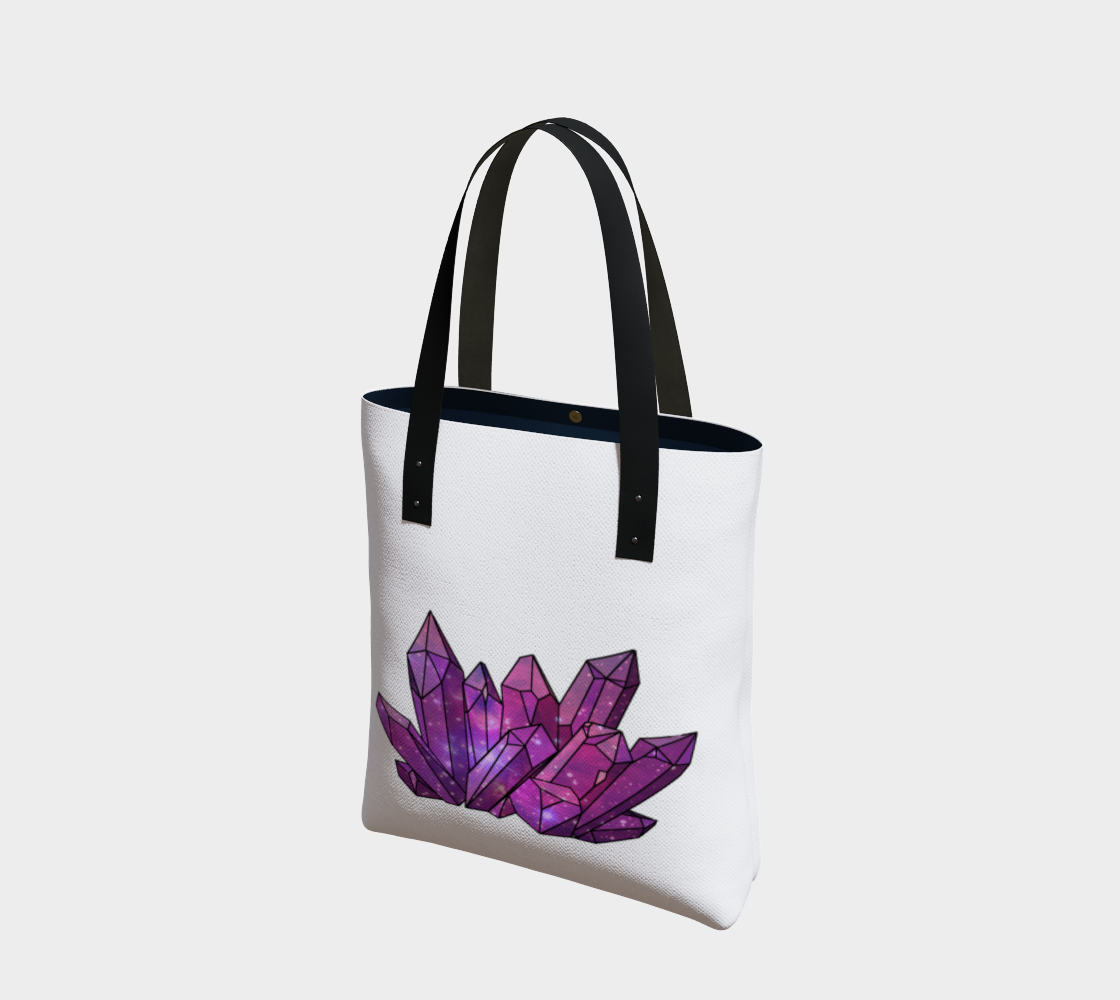 Cosmic Crystals Amethyst on Natural Cotton Tote Bag AOW Bright preview