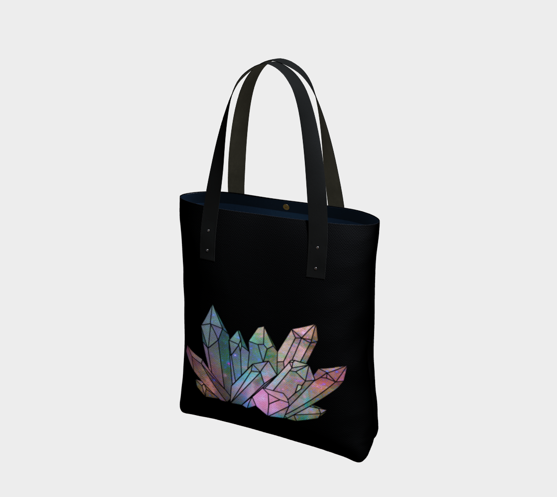 Cosmic Crystals Unicorn Rainbow Aura Canvas Tote Bag AOW preview