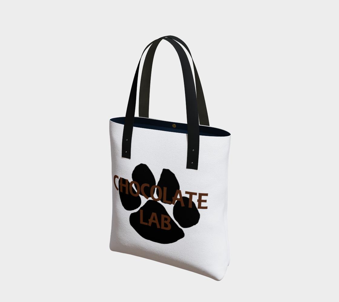 Labrador Retriever chocolate name paw tote bag preview