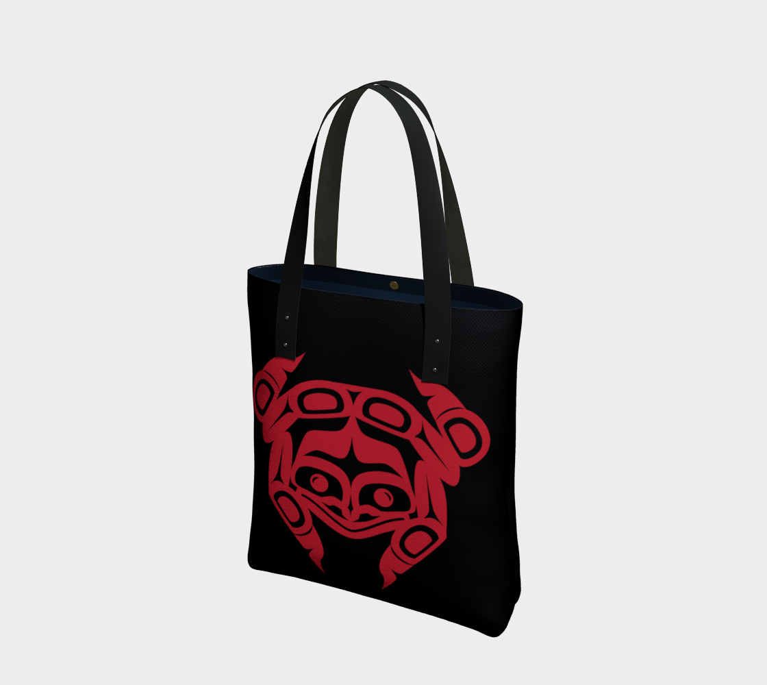 Red on Black Frog Tote preview