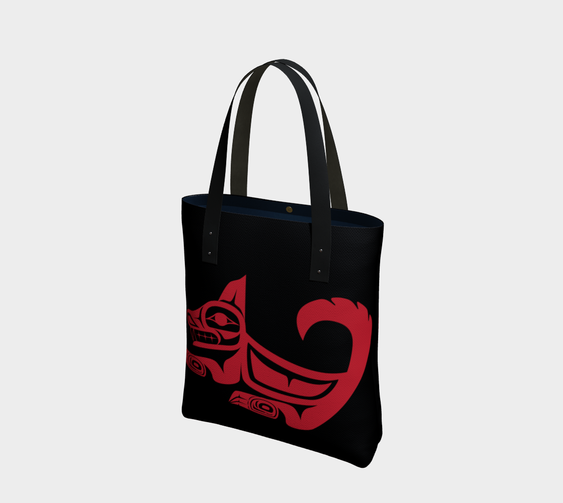 Red on Black Wolf Tote preview