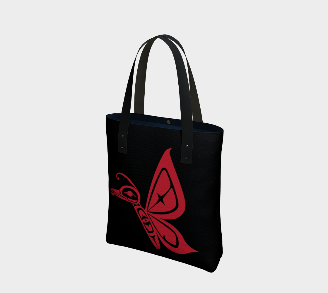 Red on Black Butterfly Tote preview