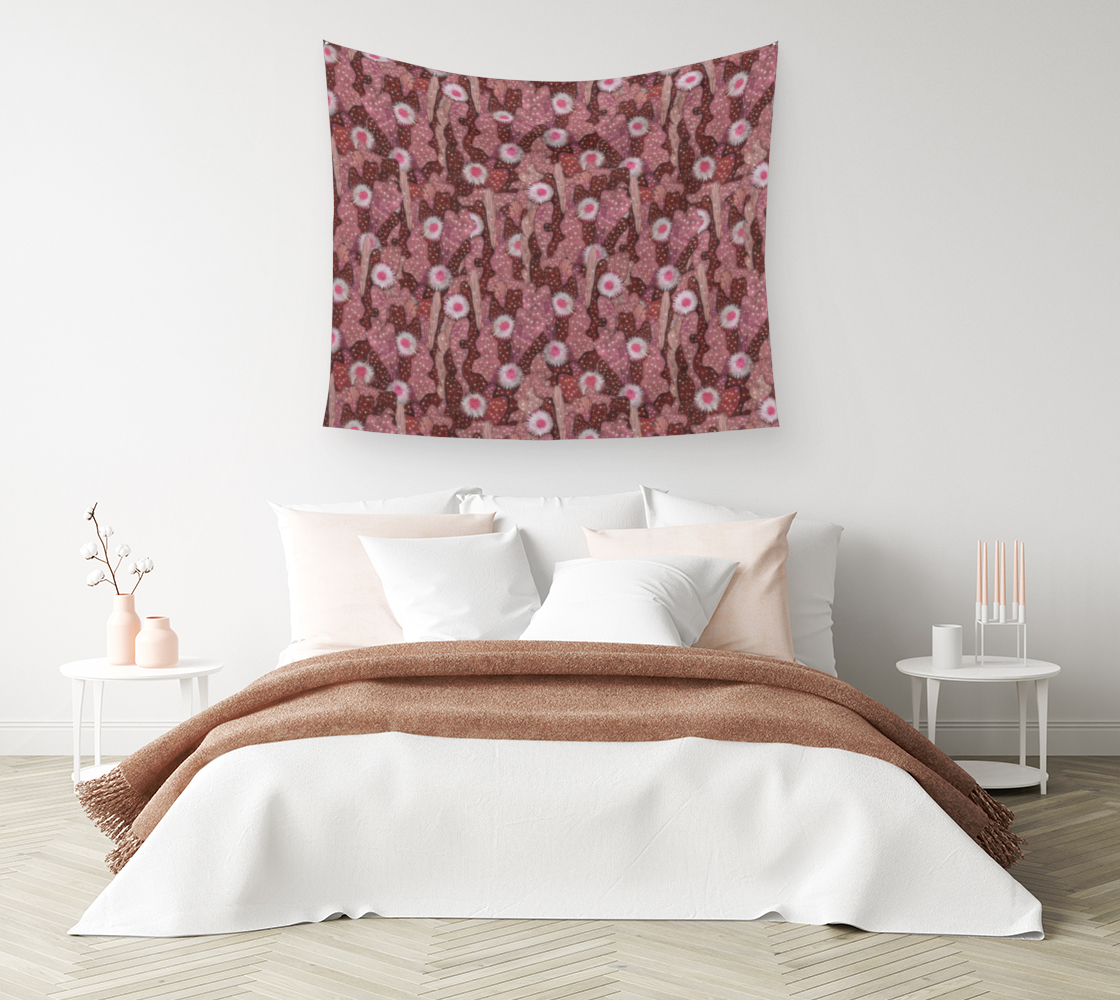 Aperçu de Cacti Camouflage Blooming Succulents Brown Copper Pink Floral Pattern Wall Tapestry #1