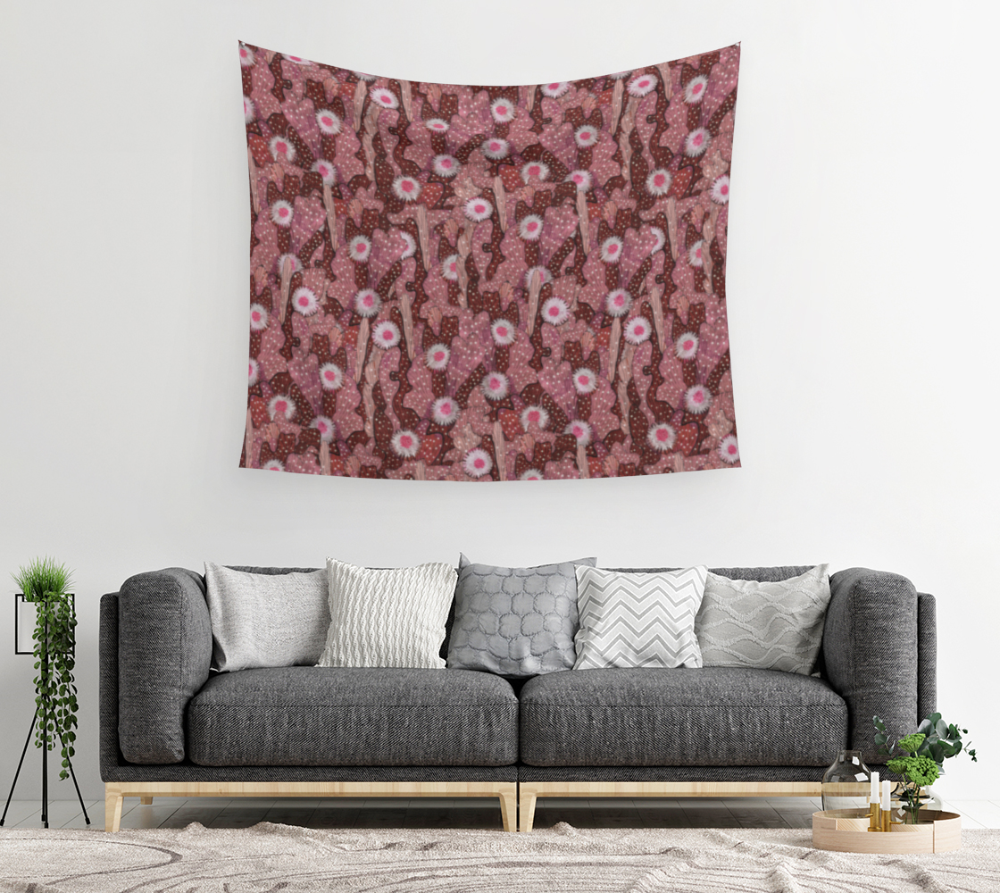 Aperçu de Cacti Camouflage Blooming Succulents Brown Copper Pink Floral Pattern Wall Tapestry #2