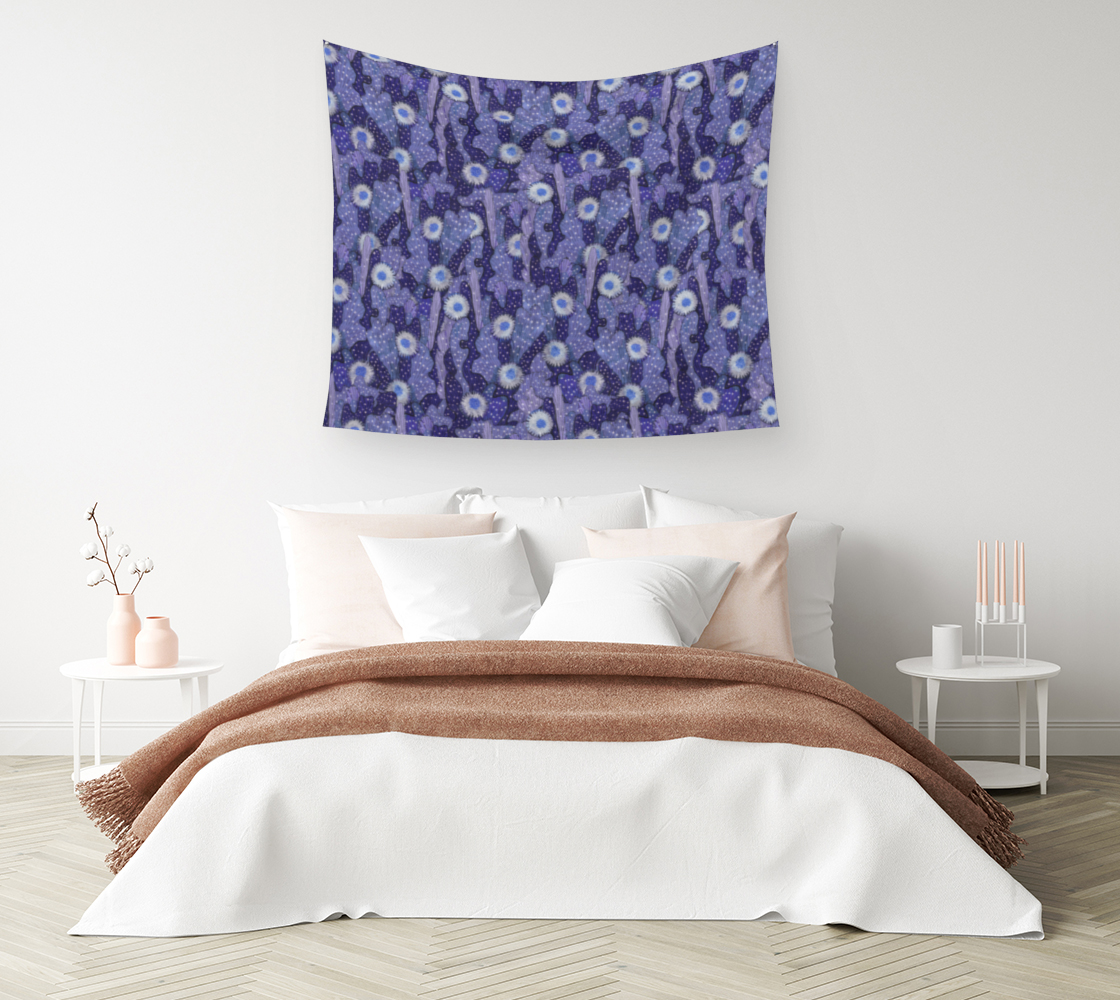 Aperçu de Cacti Camouflage Blooming Succulents Blue Violet  Floral Pattern Tapestry #1