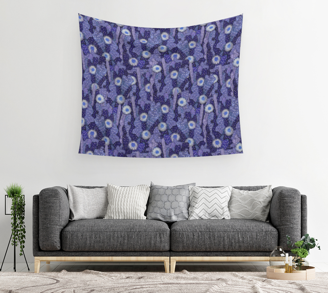 Aperçu de Cacti Camouflage Blooming Succulents Blue Violet  Floral Pattern Tapestry #2