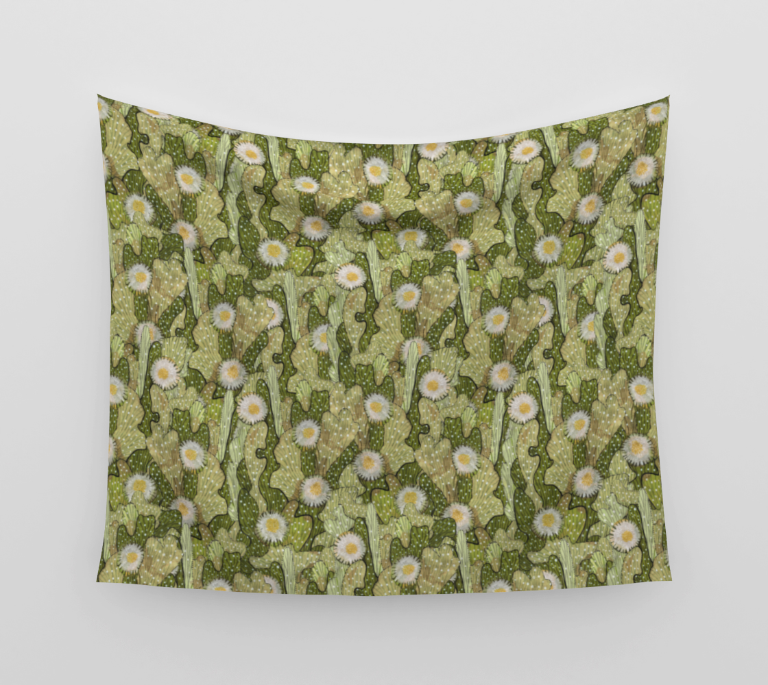 Cacti Camouflage Blooming Succulents Khaki Olive Green Floral Pattern Wall Tapestry preview