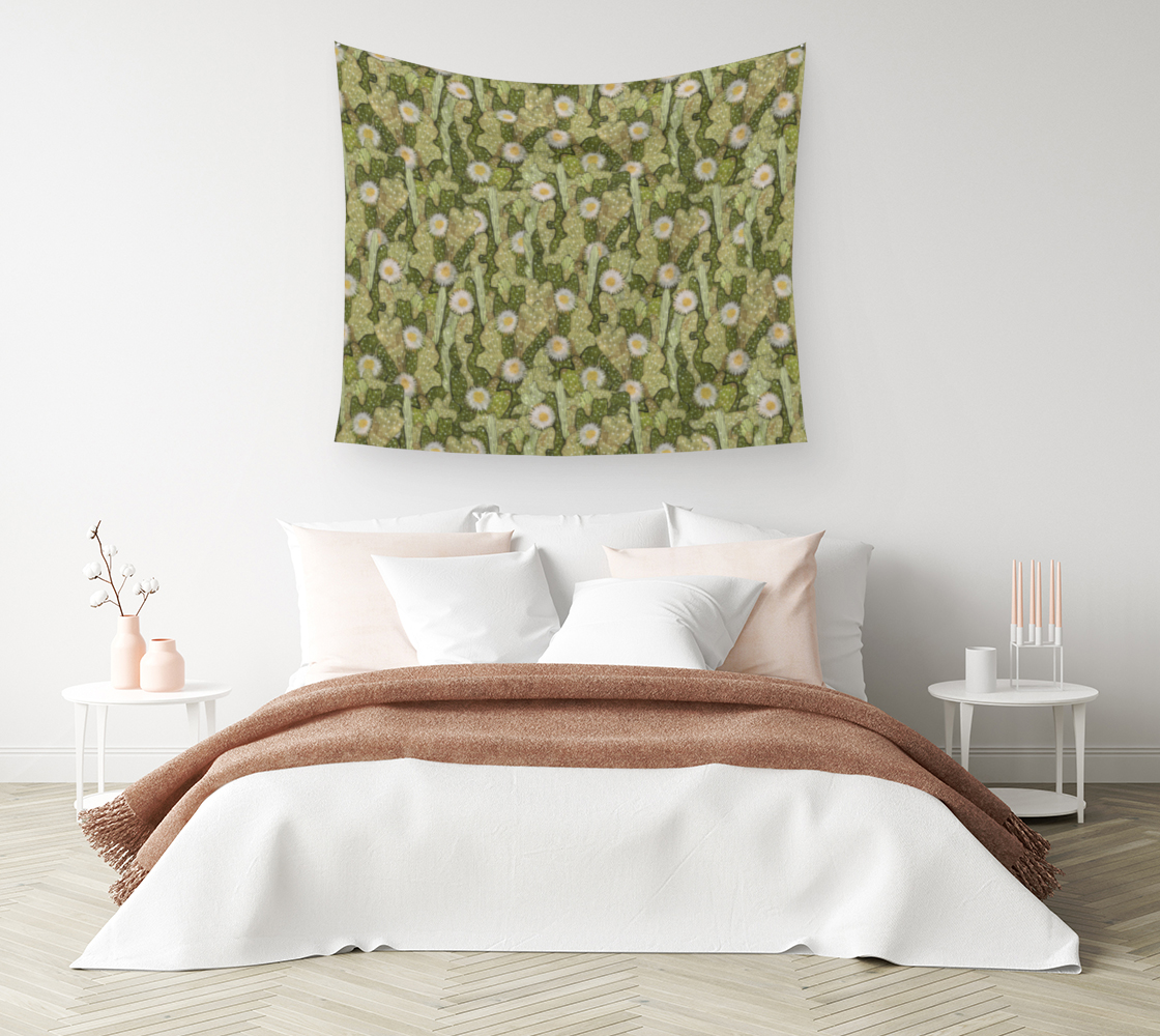Aperçu de Cacti Camouflage Blooming Succulents Khaki Olive Green Floral Pattern Wall Tapestry #1