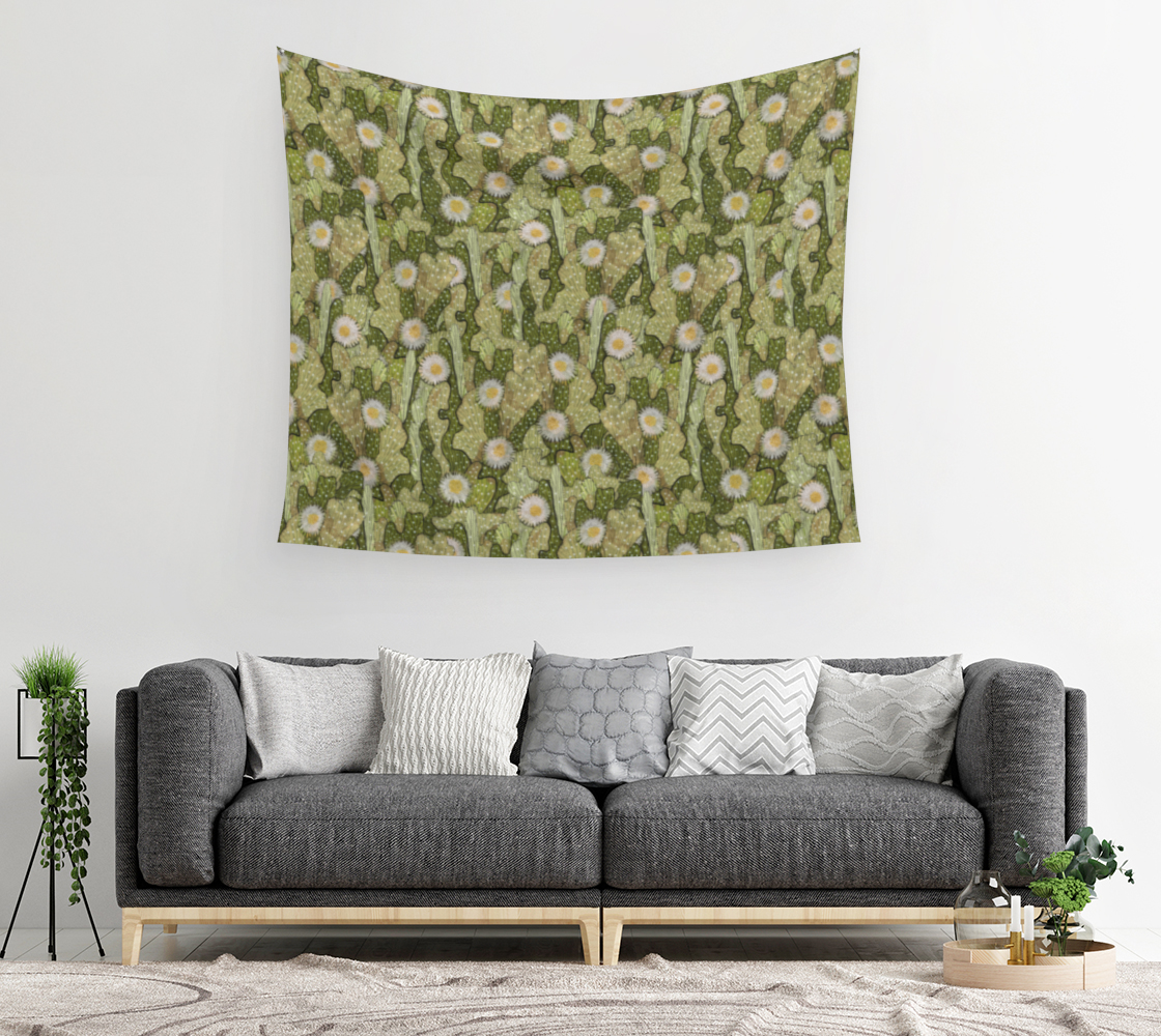 Cacti Camouflage Blooming Succulents Khaki Olive Green Floral Pattern Wall Tapestry preview #2