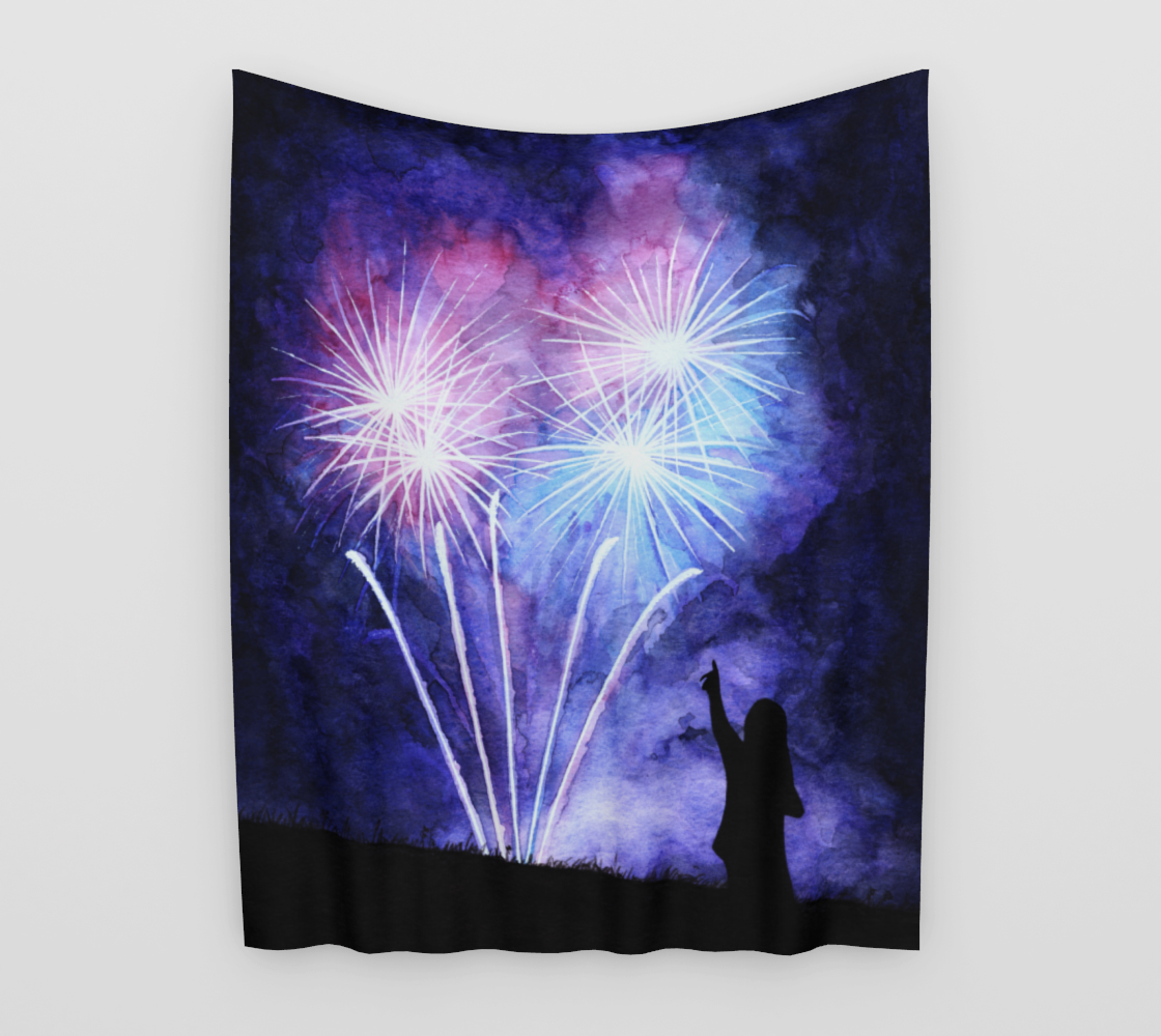 Blue and pink fireworks Wall Tapestry aperçu