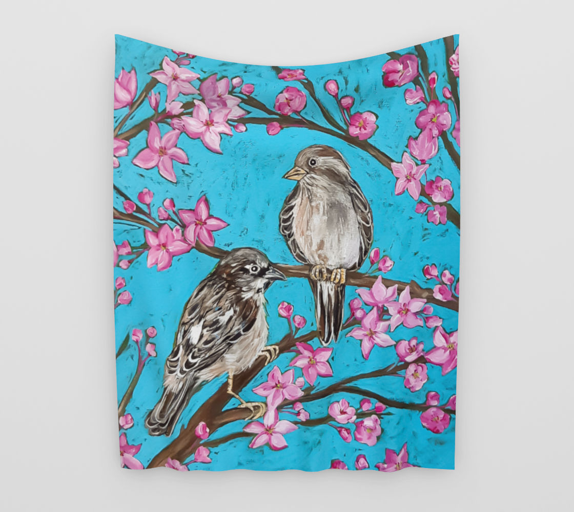 English Sparrows and Blossoms Wall Tapestry aperçu