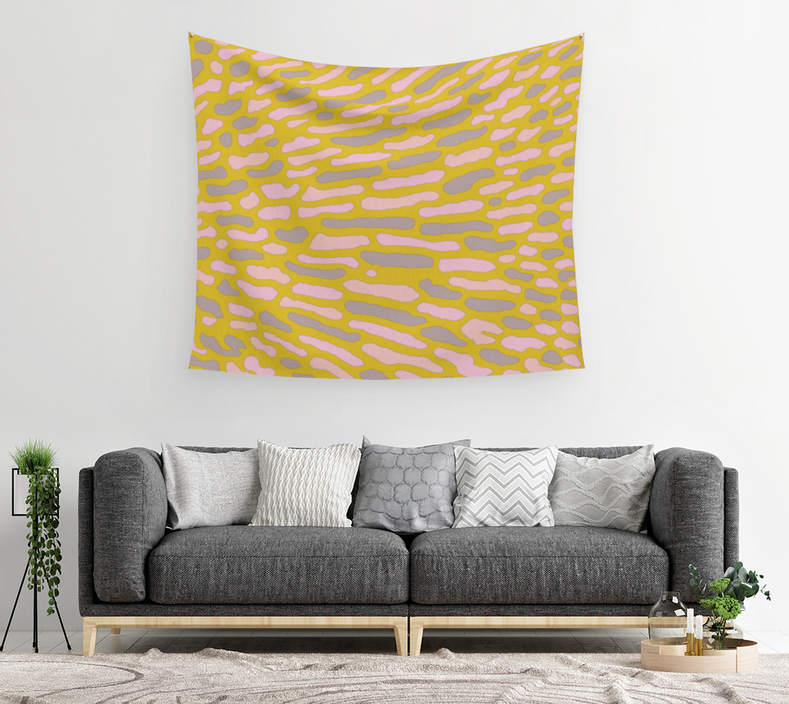 Aperçu de Organic Abstract - Yellow Lime Wall Tapestry #2