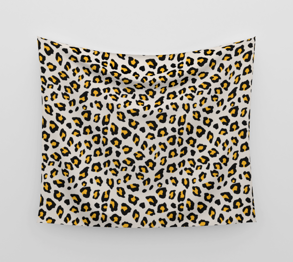 Leopard Print - Mustard Yellow Wall Tapestry preview
