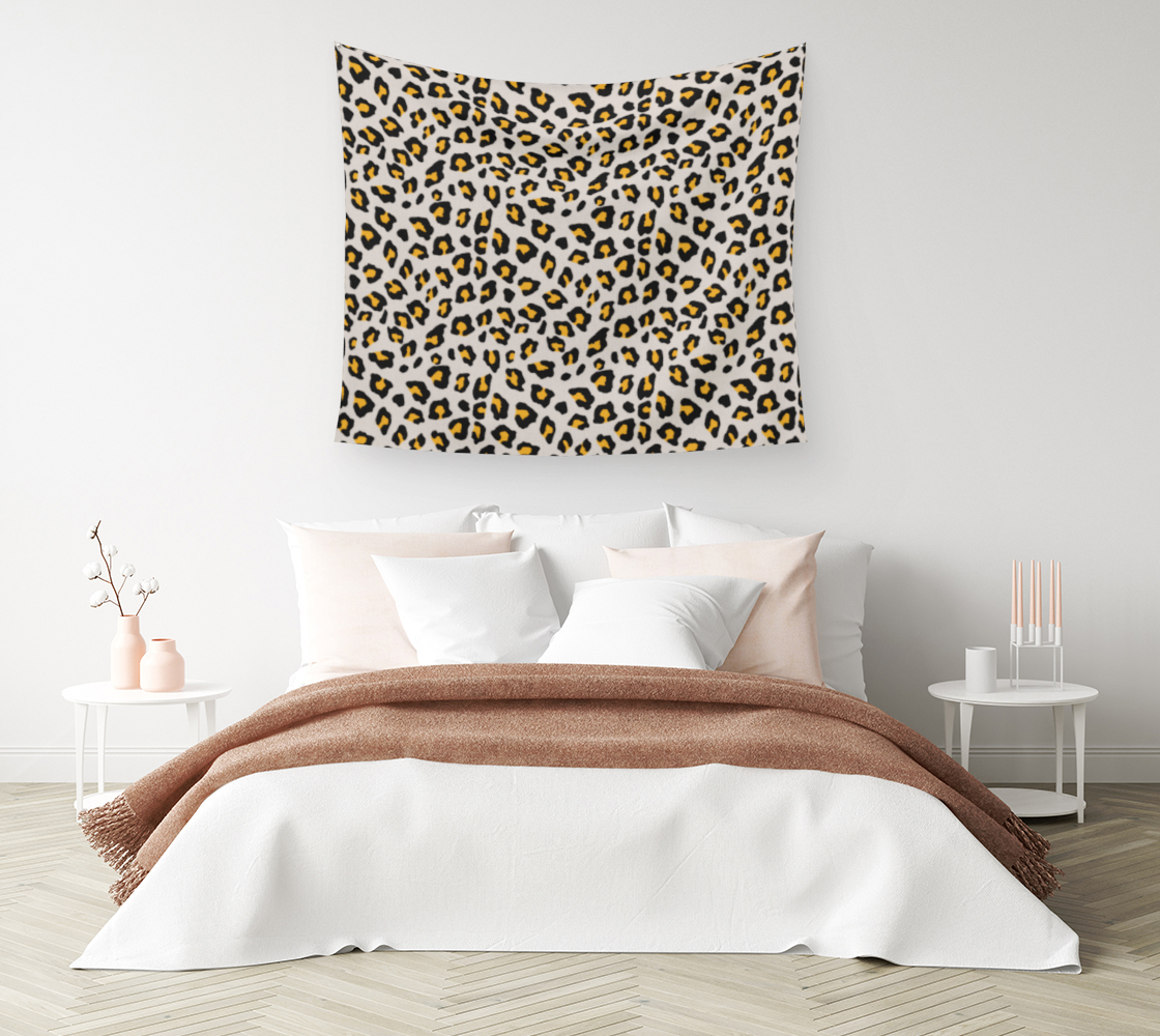 Aperçu de Leopard Print - Mustard Yellow Wall Tapestry #1