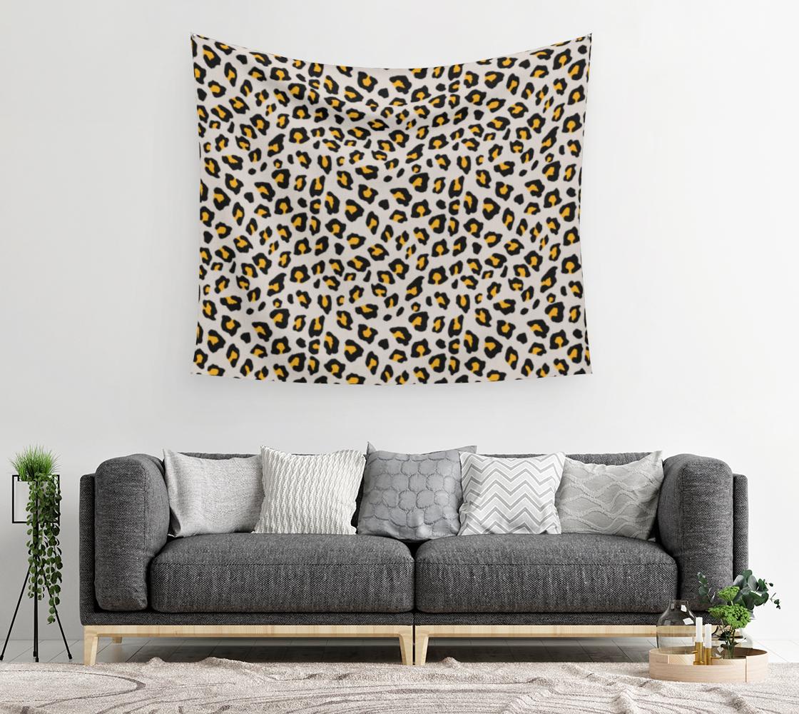 Aperçu de Leopard Print - Mustard Yellow Wall Tapestry #2