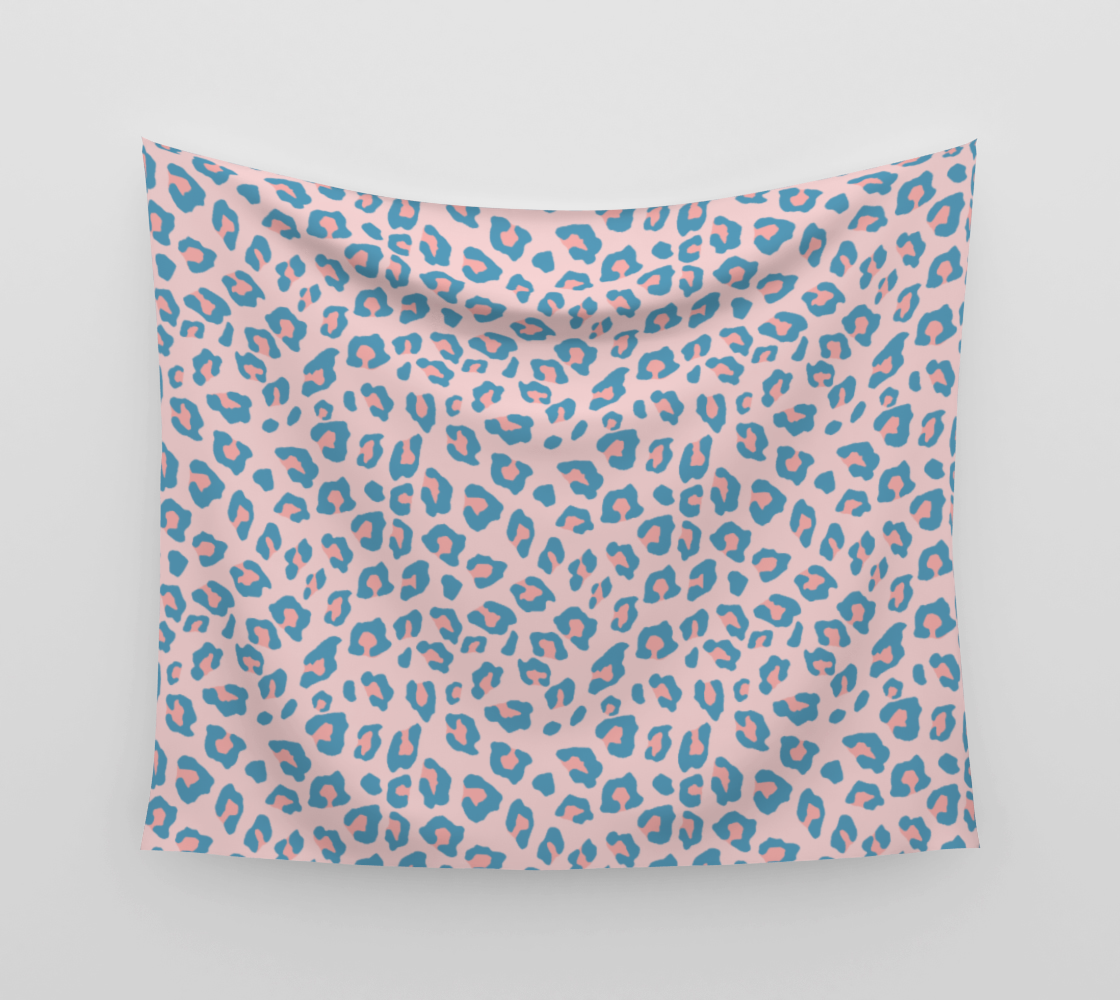 Leopard Print - Peachy Blue Wall Tapestry preview