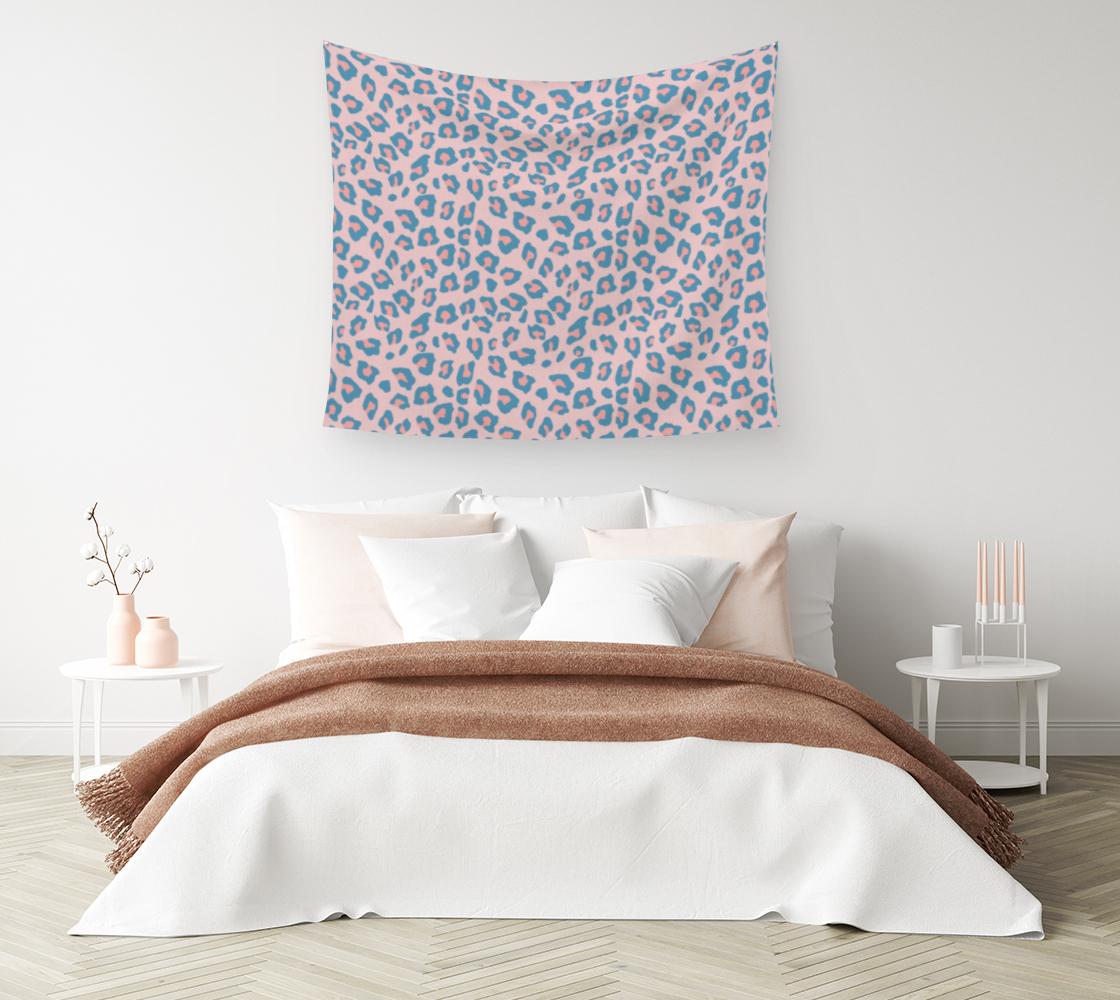 Aperçu de Leopard Print - Peachy Blue Wall Tapestry #1