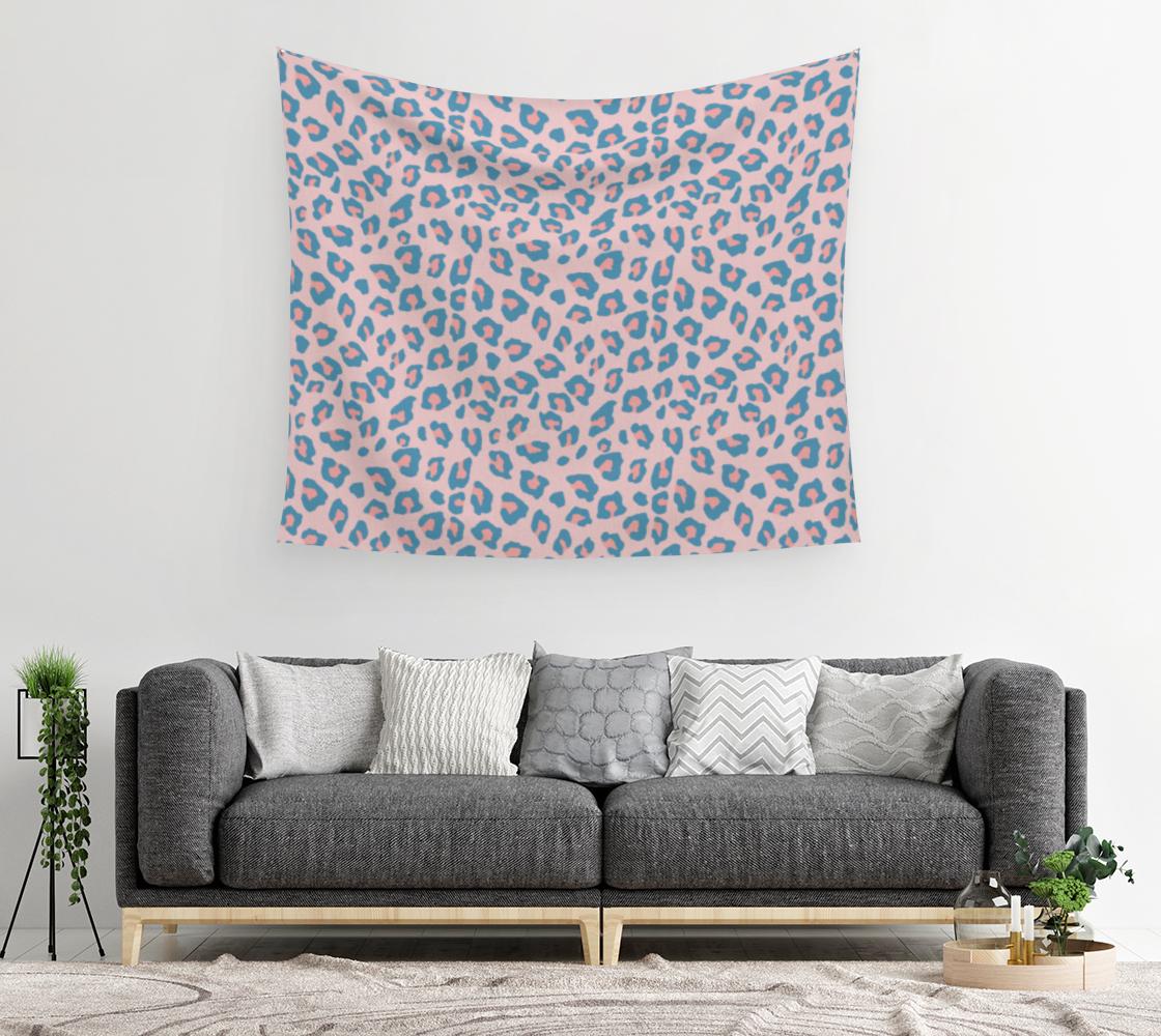 Aperçu de Leopard Print - Peachy Blue Wall Tapestry #2