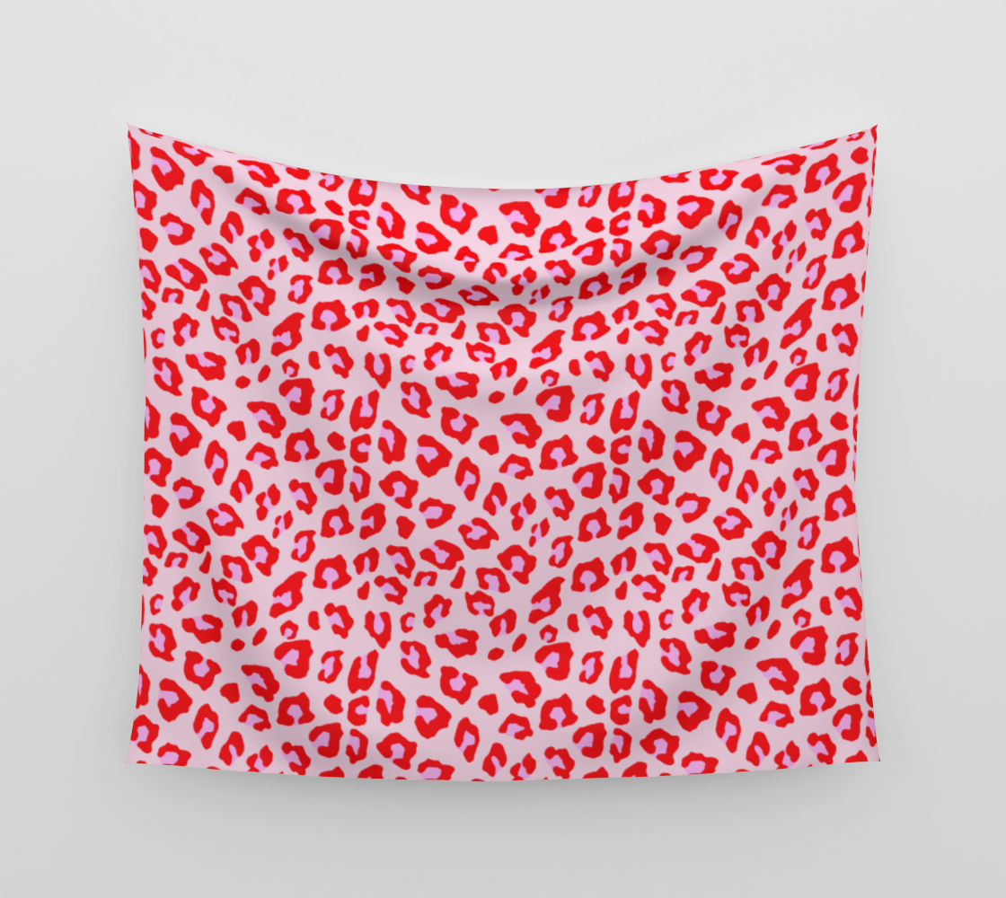 Leopard Print - Red and Pink Wall Tapestry preview